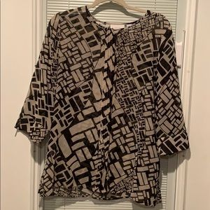 Black and Tan sheer blouse